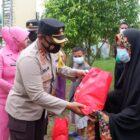 Kapolres Wajo AKBP Muhammad Islam Serahkan Bantuan Sembako Diposko Pengungsian Banjir.